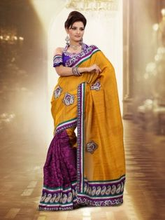Mustard Banarasi Jute Silk Saree With Butta And Patch Work