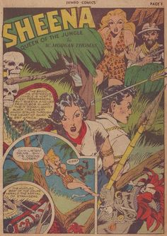 """The Comic Book Catacombs: Sheena, Queen of the Jungle in """"Cannibal Bait"""" (Fiction House; 1942)"""
