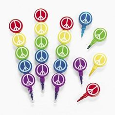 12 Peace Sign Stacking Crayons 60's Hippie favor Groovy Party Favors #OTC #BirthdayChild