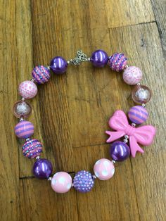 Pink and purple chunky necklace jewelry toddler photo shoot #bowtifulblessings