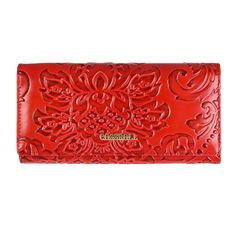 80b47e674667 Red Floral Faux Leather Fashion Clutch Purse