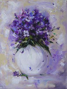 Purple flower painting. Картины цветов ручной работы. Ярмарка Мастеров - ручная работа. Купить Картина маслом Фиалки. Handmade. Картина, картина в подарок
