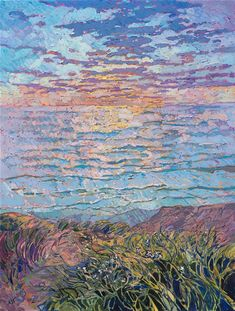 Torrey Pines seascape oil painting by local impressionist artist and oil painter Erin Hanson