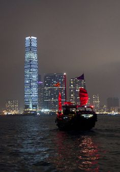 Junk boat, Hong Kong.  In the eight years we lived in HK, we saw one Junk with its sails up!!!!!