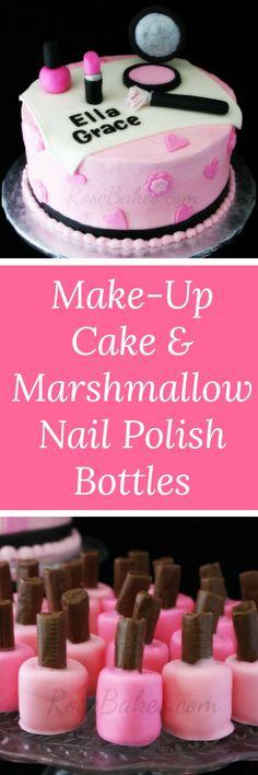 Marshmallow Nail Polish Bottles & Make-Up Cake - Rose Bakes Beautiful Cakes, Amazing Cakes, Marshmallow Nail Polish, Make Up Cake, Cake Making, Baking Soda Face, Watermelon Cake, Nail Polish Bottles, Diy Cake