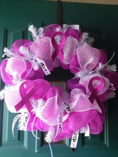 Breast cancer deco mesh wreath