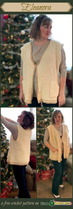 This casual, comfy vest has big roomy pockets and a subtle, all-over texture. The Red Heart Soft Touch yarn is super soft with just a little shine.