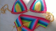 Rainbow crochet swimsuit Handmade swimwearCrochet by Coloredmood