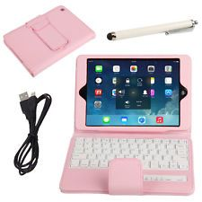 For Apple iPad Mini Stand Leather Case Cover with Bluetooth Keyboard Stylus Pink