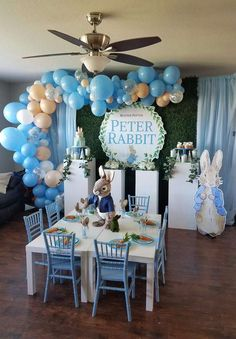 See More Party Ideas And Share Yours At CatchMyParty Catchmyparty Partyideas Peterrabbit Peterrabbitparty Balloongarland Boybirthdayparty