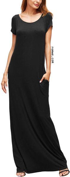 Black Pocket Short Sleeve Maxi Dress