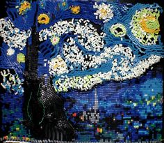 It took 11 hours to create Van Gogh's 'Starry Night' entirely with dominoes.     Watch the incredible video to see it built - and to see them all fall down. (It's very satisfying to watch!)