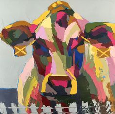"""""""Molly"""" Oil Cow Painting by Kate Mullin Williford. www.katemullinart.com   Palette Knife Thick Paint"""