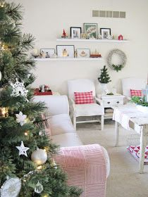 I've carried my red and white Christmas theme into my favorite and most used room of the house . . . the living room.   This years deco...