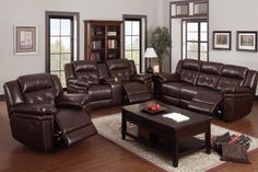 Coffee Leather Reclining Sofa Loveseat Power Power Motion Cup Holder