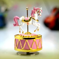 Romantic gold plated music box Carousel music box married birthday gift for…
