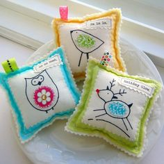 Hand Drawn Fabric Appliqued Ornaments    Set of by tracyBdesigns