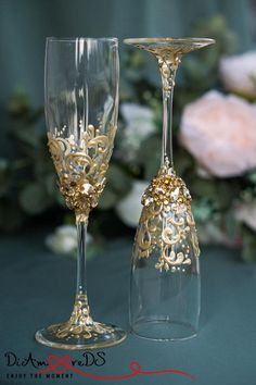 Lace Wedding Champagne Flutes and Cake Server Set Gold Crystal
