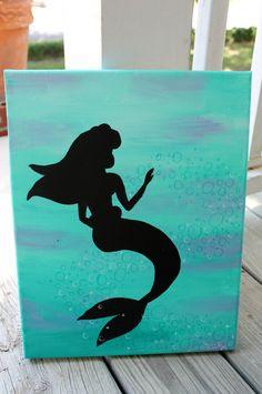 Princess Ariel silhouette // blue and purple by colorsoncanvas, $35.00