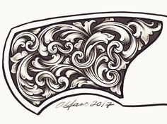 Knife bolster design - iPad Pro and Procreate app You are in the right place about App Design gradient Here we offer you the most beautiful pictures about the simple App Design you are looking for. Leather Engraving, Picture Engraving, Metal Engraving, Leather Tooling Patterns, Leather Pattern, Filigree Tattoo, Ornament Drawing, Engraved Knife, Carving Designs