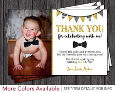 Mr. ONEderful Birthday Thank You Card - Mr One-derful Tuxedo Birthday Thank You Cards - Black and Gold First Birthday Thank You Card by PuggyPrints on Etsy