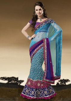 Blue and Pink Color Half Net and Half Crush 1 Minute Designer Saree : Divina Collection YF-23133