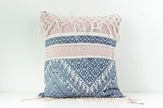 "VINTAGE Hemp Organic Patch Work Embroidered Textile Ethnic Piece Of Tradition Costume Pink Blue serenity rose quartz Pillow Case 18"" x 20"""