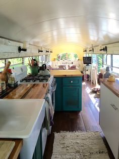 One love bus kitchen school bus tiny house, school bus camper, truck camper,