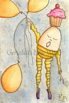 SOLD ~ NEW - Simply Floating Through Dreams - One of a Kind, Postcard Art, Original, Humpty Dumpty, Watercolor, Illustration