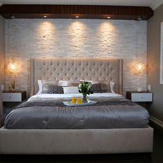 Great Stone Master Bedroom – modern – Bedroom – Toronto – Paul Lafrance Design The post Refreshing Master Bedroom Design Ideas for Renovation or Building appeared first on Interior Designs . Master Bedroom Interior, Small Master Bedroom, Modern Bedroom Decor, Small Bedroom Designs, Master Bedroom Design, Bedroom Wall, Bedroom Ideas, Modern Bedrooms, Master Room