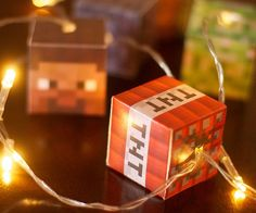 Stay true to your gamer roots as you illuminate your home using these Minecraft LED string lights. Each set includes ten LED lights that emit a soft golden glow alongside five small pixelated blocks of TNT, Steve's head, a creeper, rocks, and dirt grass. Minecraft Party, Minecraft Room Decor, Minecraft Decorations, Minecraft Games, Minecraft Bedroom, Minecraft Crafts, Minecraft Classroom, Minecraft Printable, Lego Bedroom