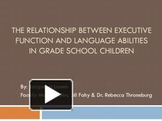 THE RELATIONSHIP BETWEEN EXECUTIVE FUNCTION AND LANGUAGE ABILITIES IN GRADE SCHOOL CHILDREN By: Jacquelyn Liesen Faculty Mentors: Mrs. Jill Fahy & Dr. Rebecca Throneburg