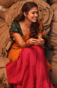 Nayantara Half Saree Designs, Blouse Designs, Indian Beauty Saree, Indian Sarees, Indian Dresses, Indian Outfits, Nayantara Hot, Simple Sarees, Stylish Girl Pic