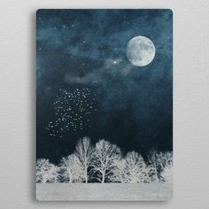 Nightscape in Blue and White metal poster Watercolor Night Sky, Night Sky Painting, Moon Painting, Winter Painting, Galaxy Painting, Watercolor Paintings, Small Canvas Paintings, Acrylic Painting Canvas, Canvas Art
