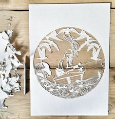 HAND CUT 'LONELY FISHERMAN' PAPER CUT - Kirsty.m