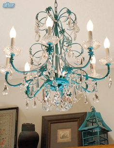 chandlier- spray paint an old chandelier, hang faux crystals on.. gorgeous & inexpensive DIY.  There's a significantly smaller, old brass version of one of these in our new dining room...this might make it our own and dress it up nice.