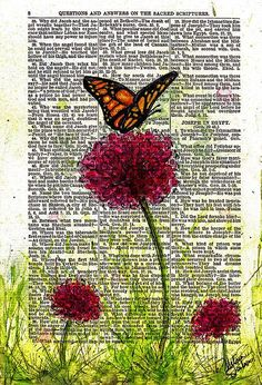 """""""Flutter By"""" mixed media painting by Melissa Sherbon  watercolor and pen on vintage book page"""