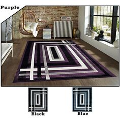 production material made from 100 percent polyester no pile purple area rugsmodern