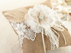 Rustic Chic Burlap and Lace Ring Pillow                              …