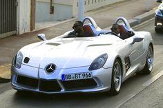 Kanye West rolls up in a Mercedes SLR Stirling Moss.