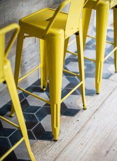 vintages tiles elements white café interior