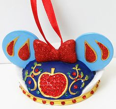 New Disney Parks Christmas Ornament Mickey Mouse Ears Hat Snow White