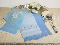 Blue Linen Kitchen Towels, Vintage Embroidery Towel, Variety Blue Hues Table Napkin, Set of 4