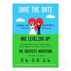 Adorably Nerdy 8-Bit Save the Date Custom Invites