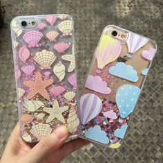 Seashell Starfish Dynamic Quicksand Sequins Phone Case Cover For Iphone 6S/7/8 P