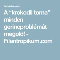 "A ""krokodil torna"" minden gerincproblémát megold! - Filantropikum.com"