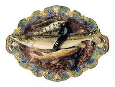 French Palissy or Palissy Style Platter, Fish, Snake, Eel.