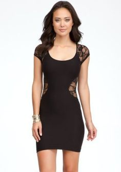 01a74529228 bebe Contour Lace Inset Dress Tubular Blk-p s at Amazon Women s Clothing  store