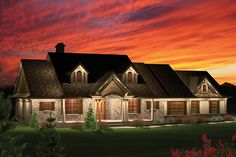 Country Style House Plan - 3 Beds 2 Baths 2016 Sq/Ft Plan #70-1050 Exterior - Front Elevation - Houseplans.com