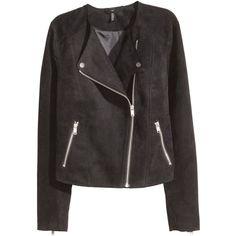 H&M Biker Jacket $34.99 (7.700 CZK) ❤ liked on Polyvore featuring outerwear, jackets, coats, h&m, lapel jacket, embellished jackets, zipper jacket, rider jacket and moto jacket